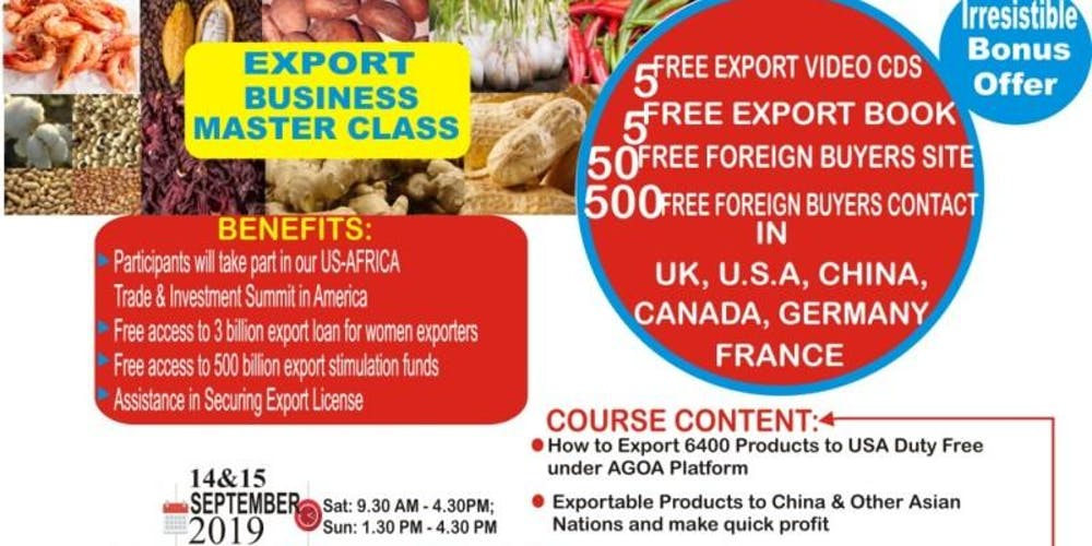 Export Business Master Class Tickets, Sat, Sep 14, 2019 at 6