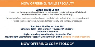 Now Offering 12 PM-8 PM Nails Specialty and Cosmetology! *Fees apply*