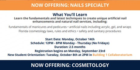 Now Offering 12 PM-8 PM Nails Specialty and Cosmetology! *Fees apply* tickets