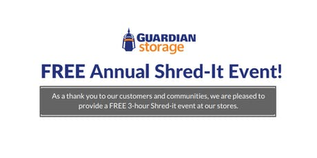 Guardian Storage FREE Shred-It Event tickets