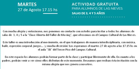 Taller Gratuito de Moving tickets