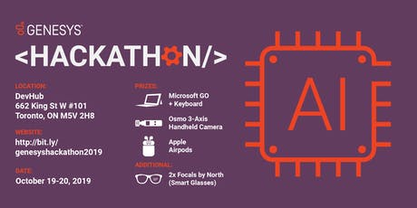 Genesys Hackathon - Prizes: MS Surface Go, Osmo Pocket, AirPods, Focals by North tickets