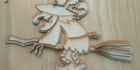 Laser Cut Witch, art, craft, Fab Lab, Halloween tickets