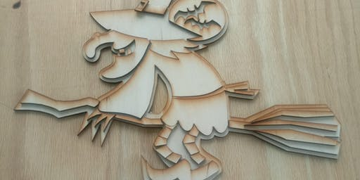 Laser Cut Witch, art, craft, Fab Lab, Halloween