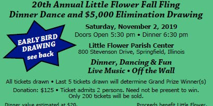 20th Annual Dinner Dance & $5,000 Elimination Drawing