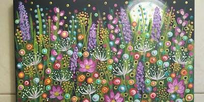 Moonlight over the Garden, Mandala Painting Class at Soule' Studio