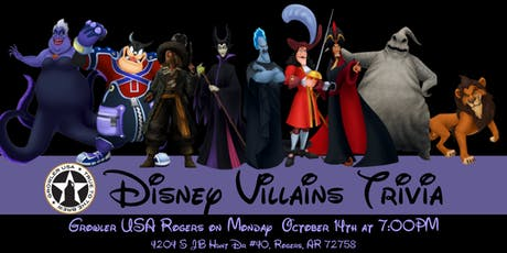 Disney Villains Trivia at Growler USA Rogers tickets