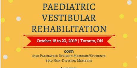 Paediatric Vestibular Rehabilitation Toronto tickets