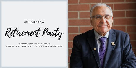 Retirement Party honouring Franco Savoia tickets