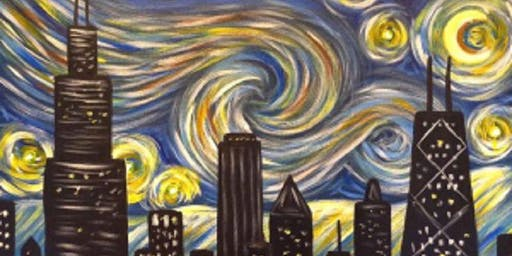 Paint 'N Sip Chicago Skyline Starry Night - Van Gogh like- BYOB