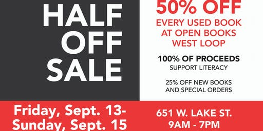 Half Off Book Sale at Open Books West Loop