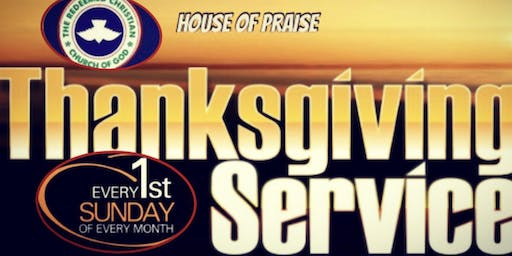 R.C.C.G HOP MONTHLY THANKSGIVING