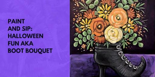 Paint and Sip Tea Tonasket: Halloween Fun AKA Boot Bouquet