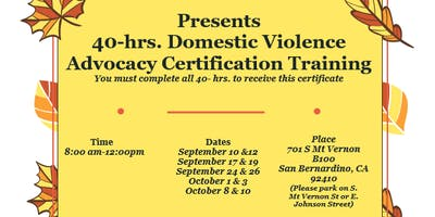 40 Hour Domestic Violence Advocacy Training