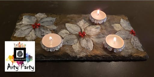 ARTY PARTY: Poinsettia on Slate