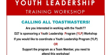 "District 27 Youth Leadership Workshop ""Toastmasters for Teens"" tickets"
