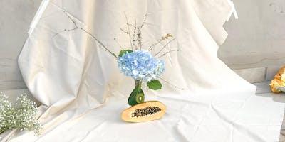 Ikebana ilustrado y estampado textil