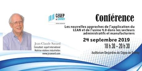 Conférence sur l'application du LEAN et l'usine 4.0 dans les secteurs administratifs et manufacturiers billets