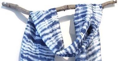 Indigo Arashi Shibori Silk Scarf Workshop