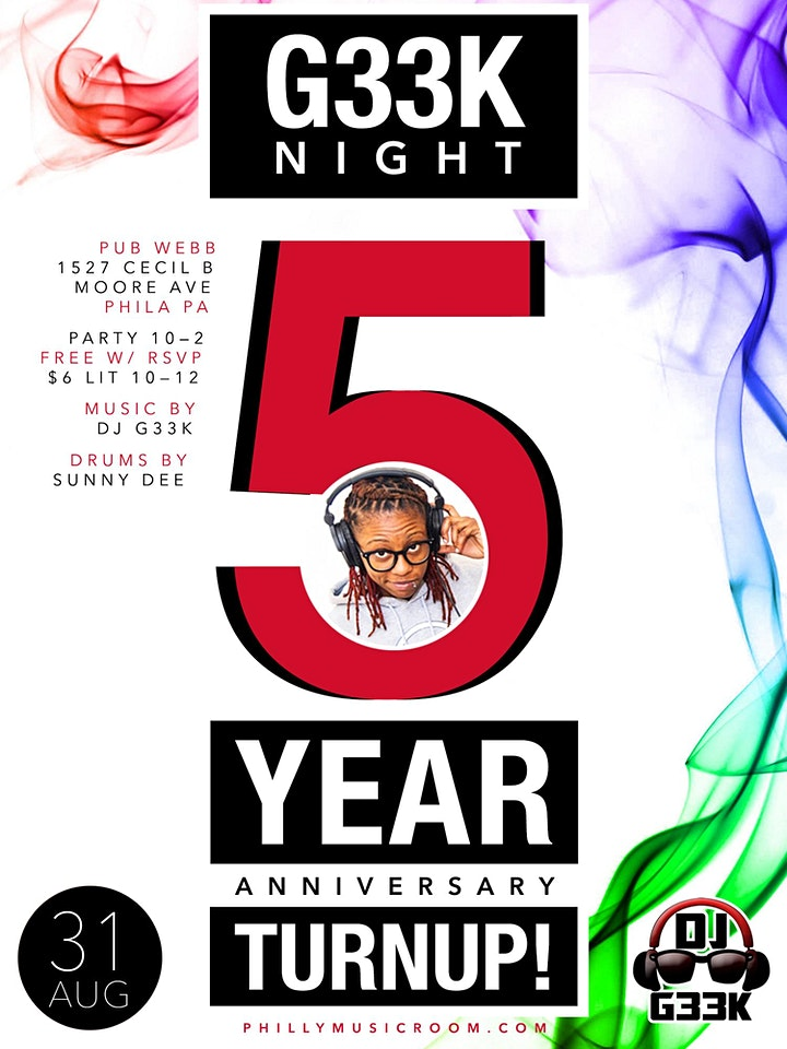 #G33kNight 5-Year Anniversary Turn Up / DJ G33k image