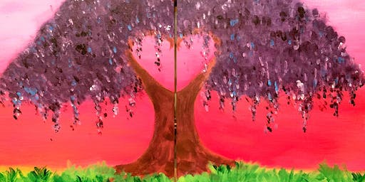 Wisteria in Love - Couple's Painting (Level 2- no stencils)