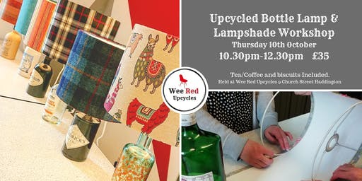 Upcycled Bottle Lamp and Lampshade Workshop - Thurs 10th Oct 10.30-12.30pm