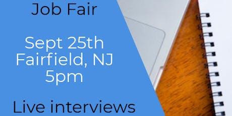 FAIRFIELD NJ JOB FAIR - WEDNESDAY SEPT 25...MANY NEW COMPANIES @5pm!! tickets