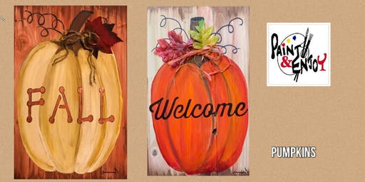 """Paint and Enjoy at Delta Pizza """"Welcome """" on wood"""