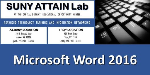 Microsoft Word 2016 Certification Training - Evenings (Troy, NY)
