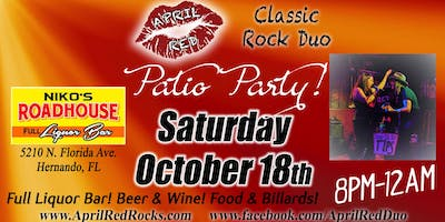 April Red Back at Niko's Roadhouse Hernando for a Patio Party!