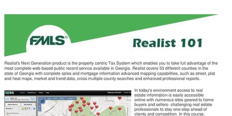 FMLS Realist 101: Utilizing Property Data for Deeper Insight into the RE Market tickets