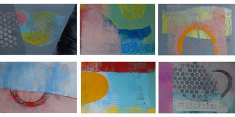 '6 Abstract Postcards' painting and collage workshop tickets