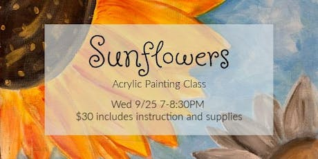 Sunflowers Acrylic Painting Class $30  9/25 tickets