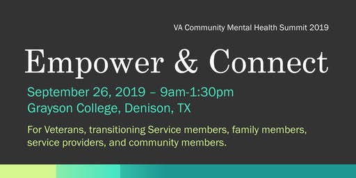 Community Mental Health Summit--2019 Bonham VAMC--GRAYSON COLLEGE