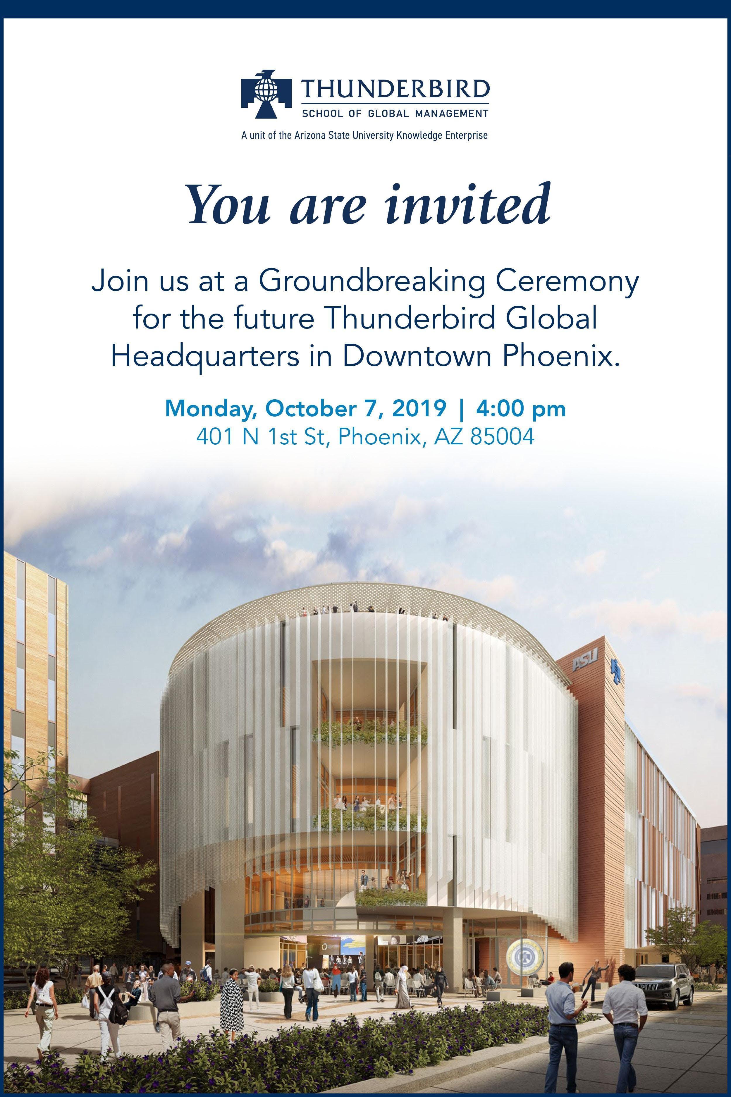 Groundbreaking for the Thunderbird's New Global Headquarters