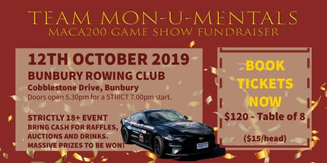 Bunbury Quiz Game Show Night - Maca Cancer 200 Ride For Research Fundraiser tickets