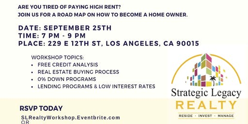 First Time Home-Buyer Workshop w/ SL Realty September 25th