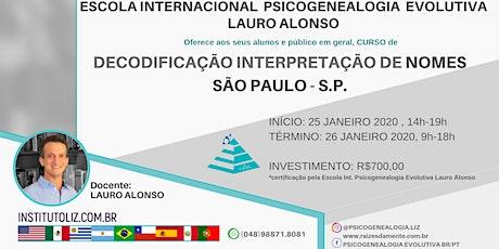 CURSO DECODIFICAÇÃO INTERPRETAÇÃO NOMES SÃO PAULO ingressos
