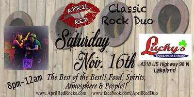 April Red Rockin' Lucky's Sports, Oyster & Tiki Bar in Lakeland!