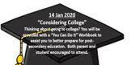 """SUPPORT YOUR STUDENT SUCCESS SERIES:  """"Considering College"""" tickets"""