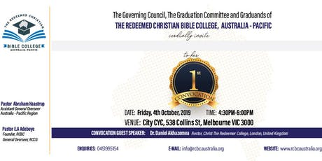 Redeemed Christian Bible College Australia Graduation Ceremony tickets