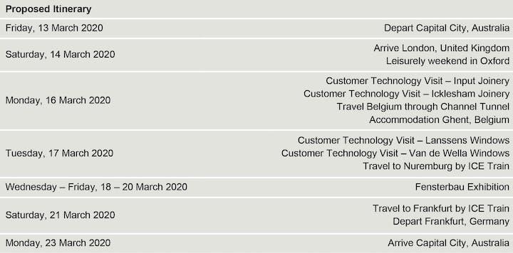 Weinig Australia Fensterbau Technology Tour Tickets, Fri 13