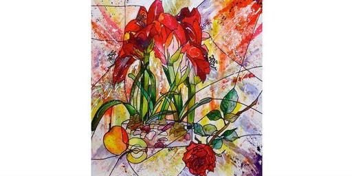ABSTRACT STILL LIFE - SEASONAL FLOWERS AND FRUIT