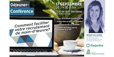 Déjeuner-Conférence: Comment faciliter votre recrutement de main-d'œuvre ?   billets