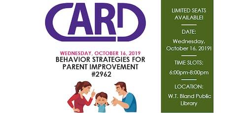 Behaviors Strategies for Parent Improvement #2962 tickets