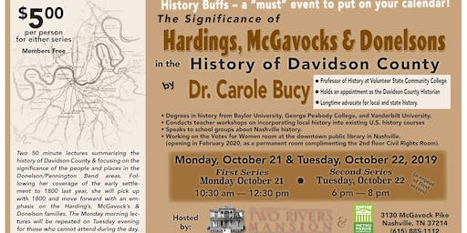 Dr. Carole Bucy Lecture - Hardings, McGavocks & Donelsons