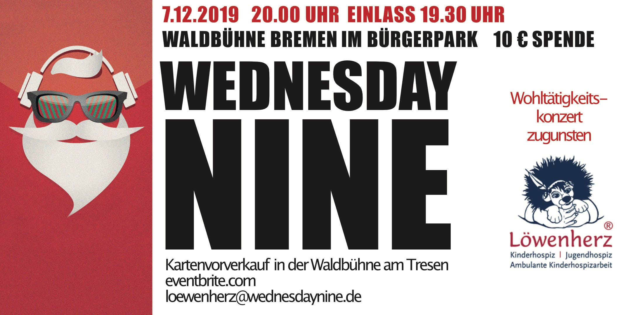 Jingle Bell Rock - Charity Concert - Wednesday Nine playing for Lwenherz