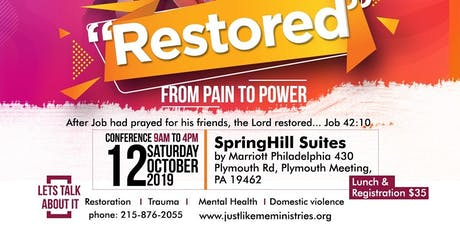 """The """"Restored"""" Conference - moving from Pain to Power tickets"""