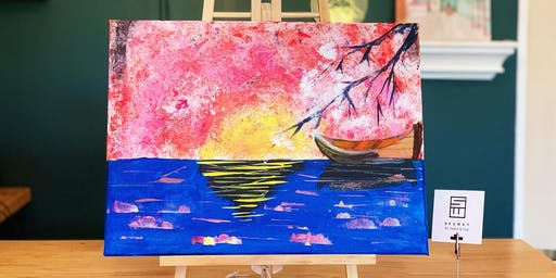 THINGS TO DO -PAINT & SIP:JAPAN,BOAT&CHERRY BLOSSOM