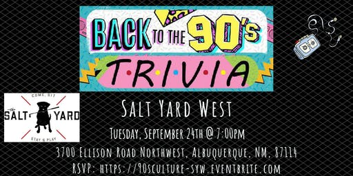 90's Pop Culture Trivia at The Salt Yard West